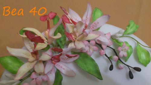 orchidee a čerešňové kvety